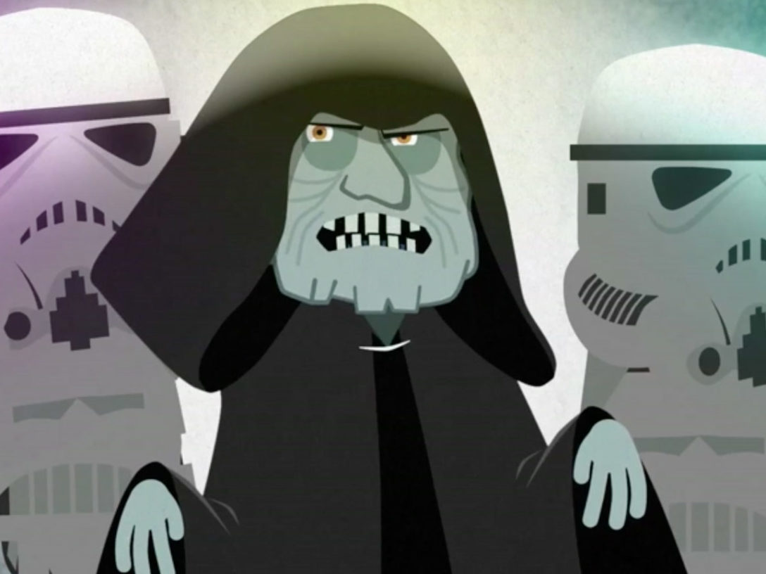 "Emperor Palpatine is shown in a still from ""Star Wars: A New Employee Orientation."""