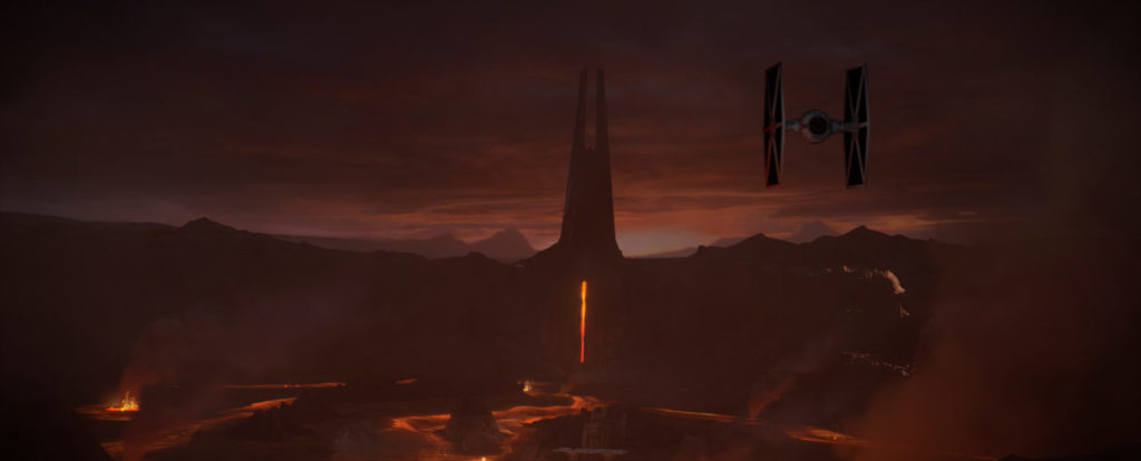 A TIE fighter approaches Mustafar in this still from Vader Immortal: A Star Wars VR Series -- Episode I.