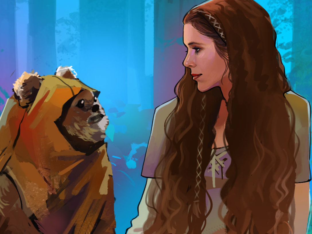 Leia and Wicket illustration from Star Wars: Women of the Galaxy.