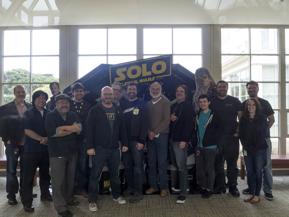 The author and illustrators of the A page from the Haynes Star Wars Millennium Falcon Owners' Workshop Manual meet with the Lucasfilm team.