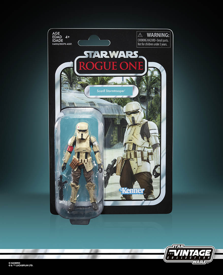 A Scarif trooper from the Hasbro Vintage Collection.