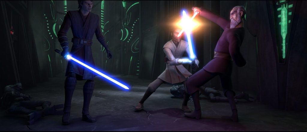 Anakin and Obi-Wan face Count Dooku in Star Wars: The Clone Wars.