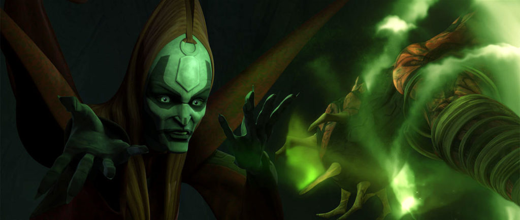 Mother Talzin performs dark magicks on Darth Maul in Star Wars: The Clone Wars.