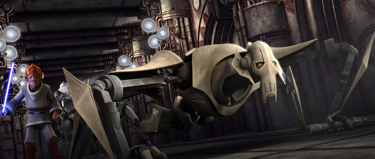 "Jedi Nahdar and general grievous in ""Lair of Grievous."""