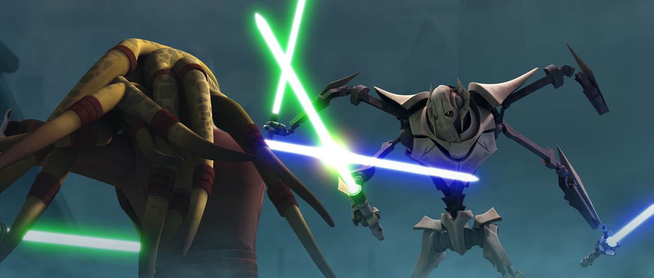 "Kit Fisto battles General Grievous in ""Lair of Grievous."""