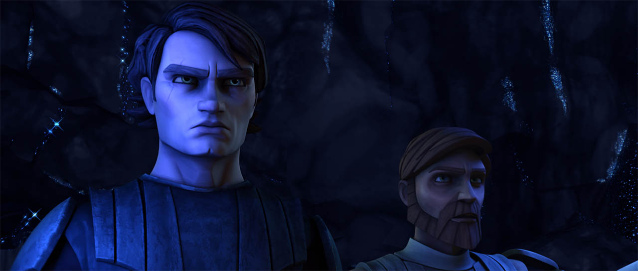 "Anakin and Obi-Wan are trapped in a scene from ""Dooku Captured."""
