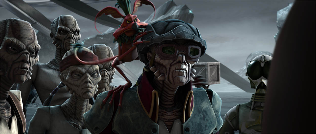 "Hondo and his pirate gang arrive in a scene from ""Dooku Captured."""