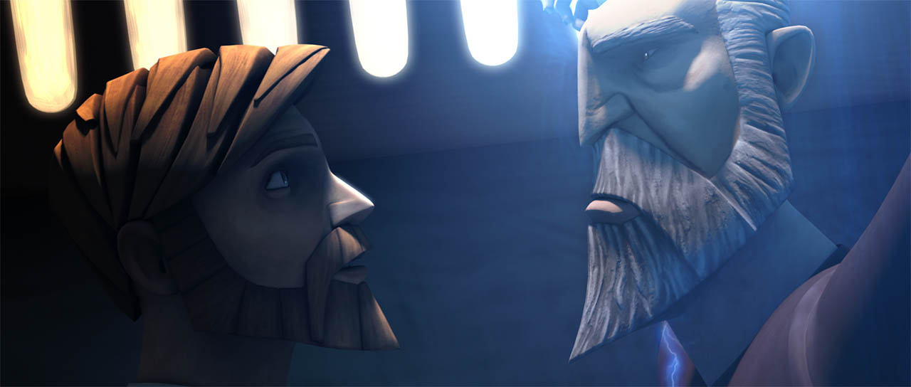 "Obi-Wan faces Dooku in a scene from ""Dooku Captured."""