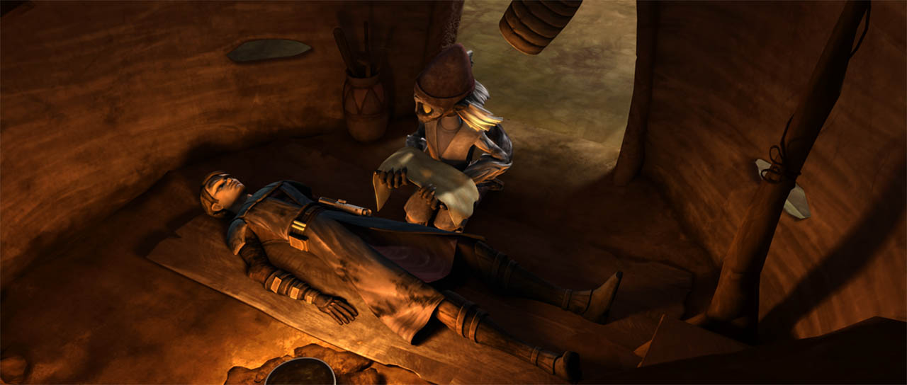 Wag Too preparing to heal a wounded Anakin Skywalker on Maridun