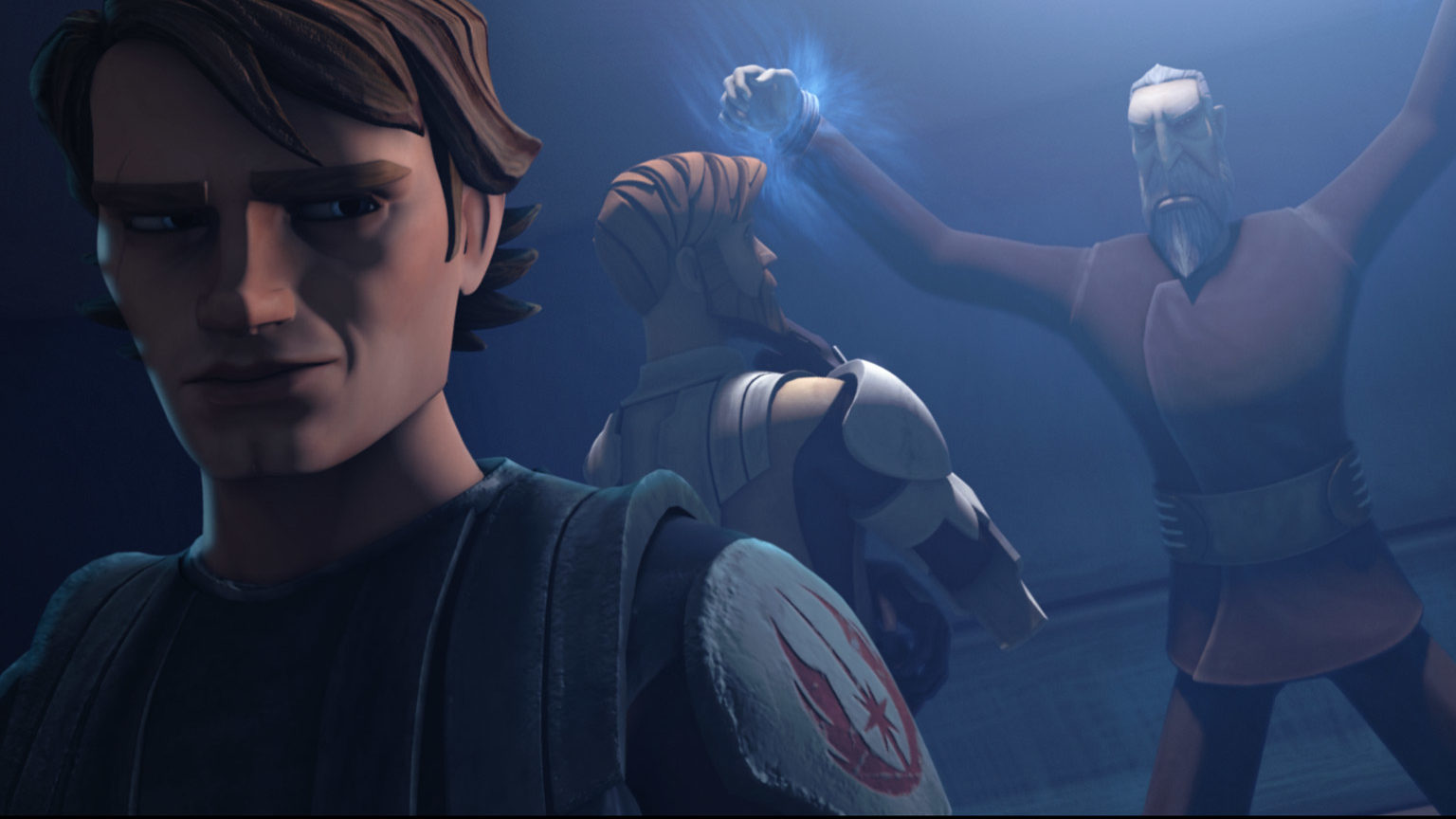 "Obi-Wan and Anakin confront Dooku in a scene from ""Dooku Captured."""