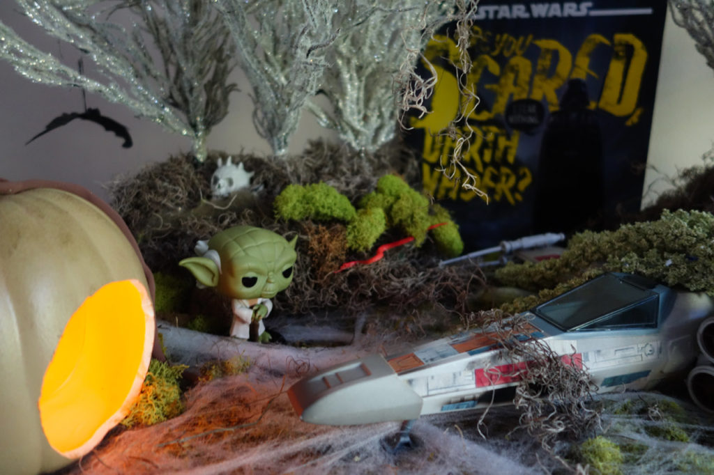 Star Wars Halloween mood table set on Dagobah.