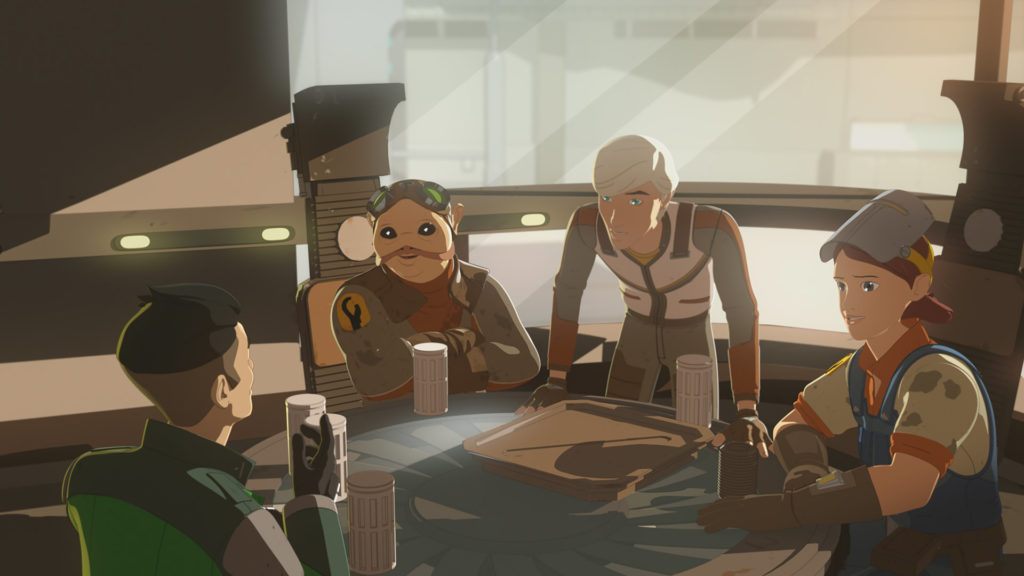 Jace Rucklin and his crew in Star Wars Resistance.