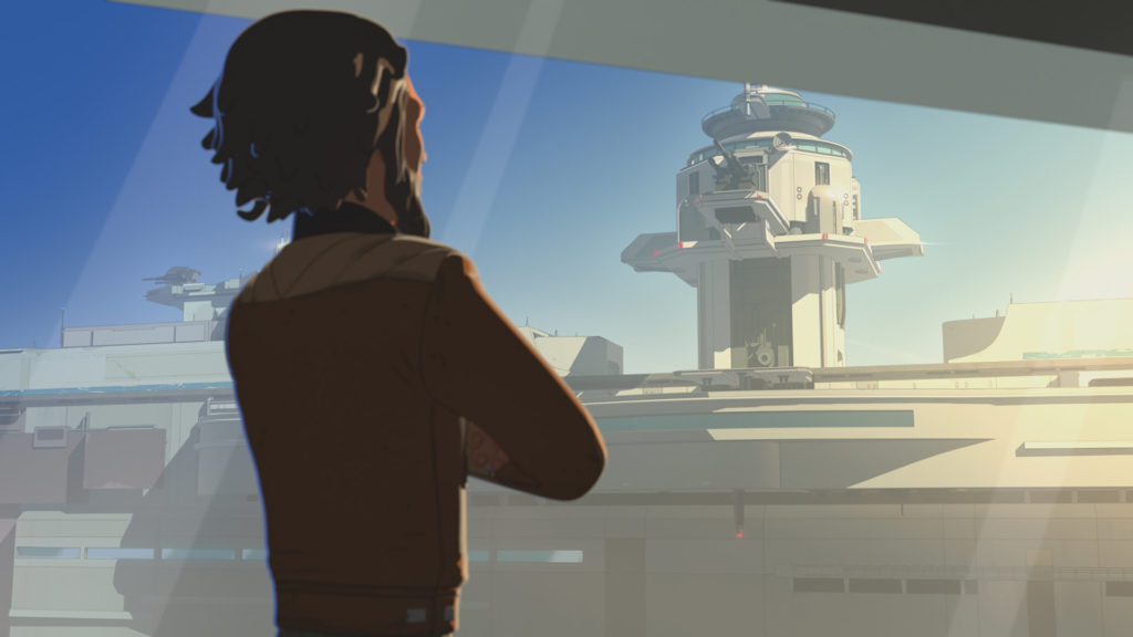 Yeager looks at Doza Tower in Star Wars Resistance.