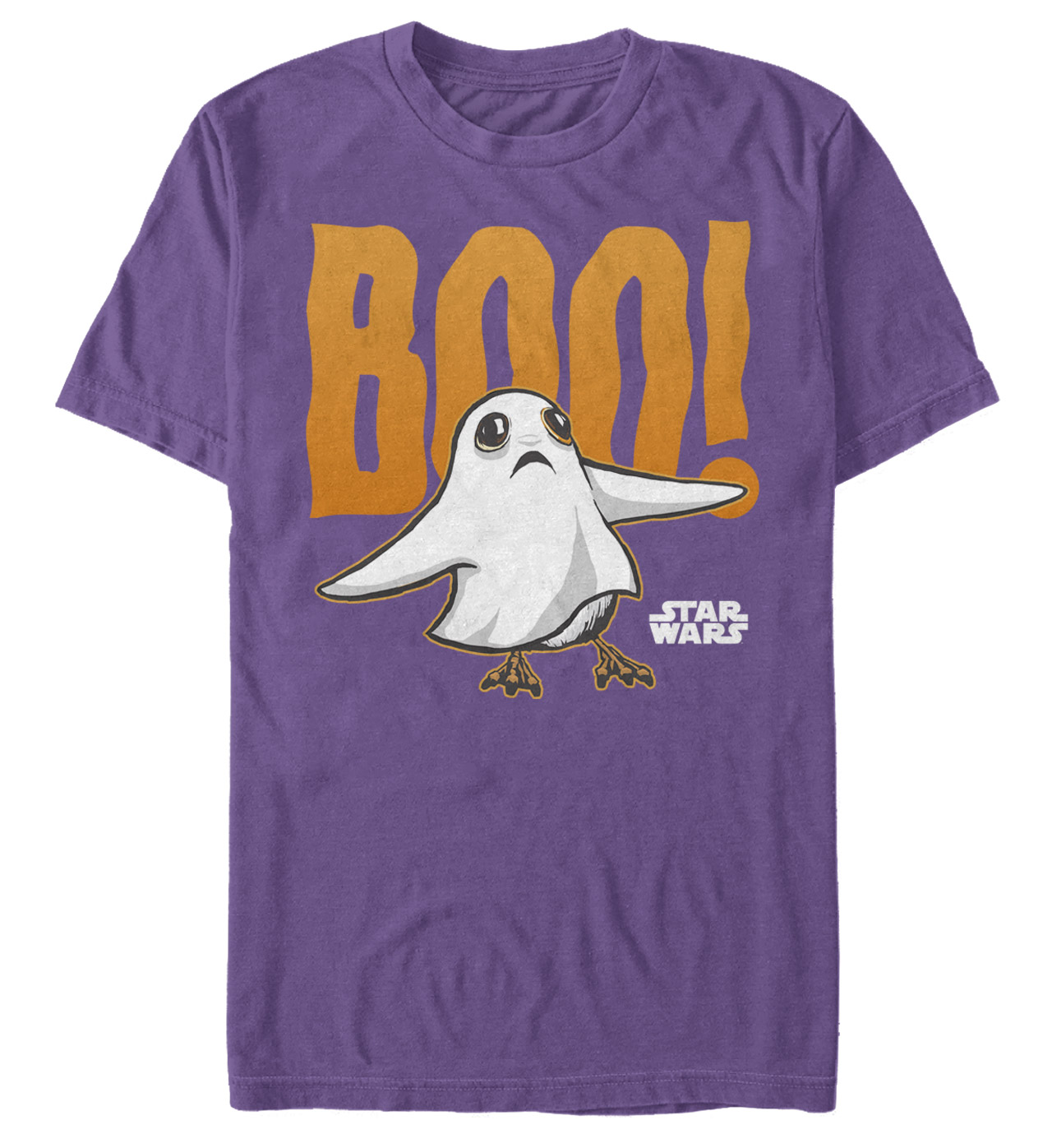 A porg in ghost costume on a shirt.