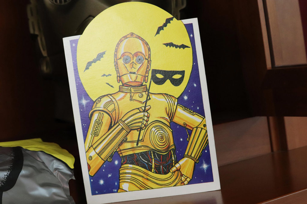 Vintage C-3PO Halloween greeting card.