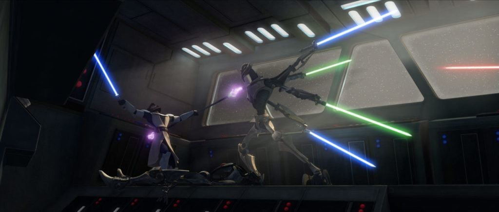 General Grievous versus Obi-Wan Kenobi in Grievous Intrigue, an episode of Star Wars: The Clone Wars.