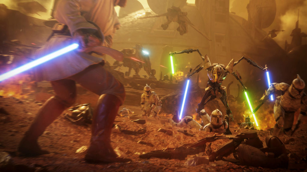 General Grievous versus Obi-Wan Kenobi in Star Wars Battlefront II.