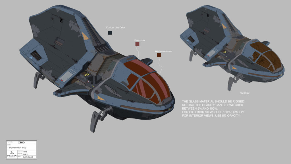 Concept art for Hallion's ship in Star Wars Resistance.