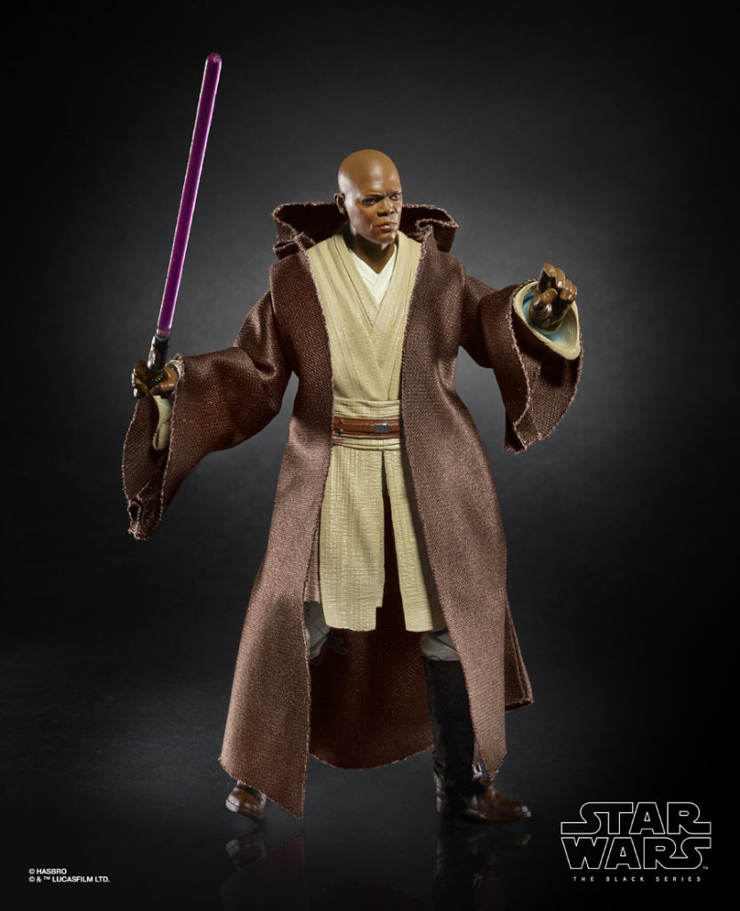 Mace Windu Star Wars: The Black Series figure with Jedi robes.