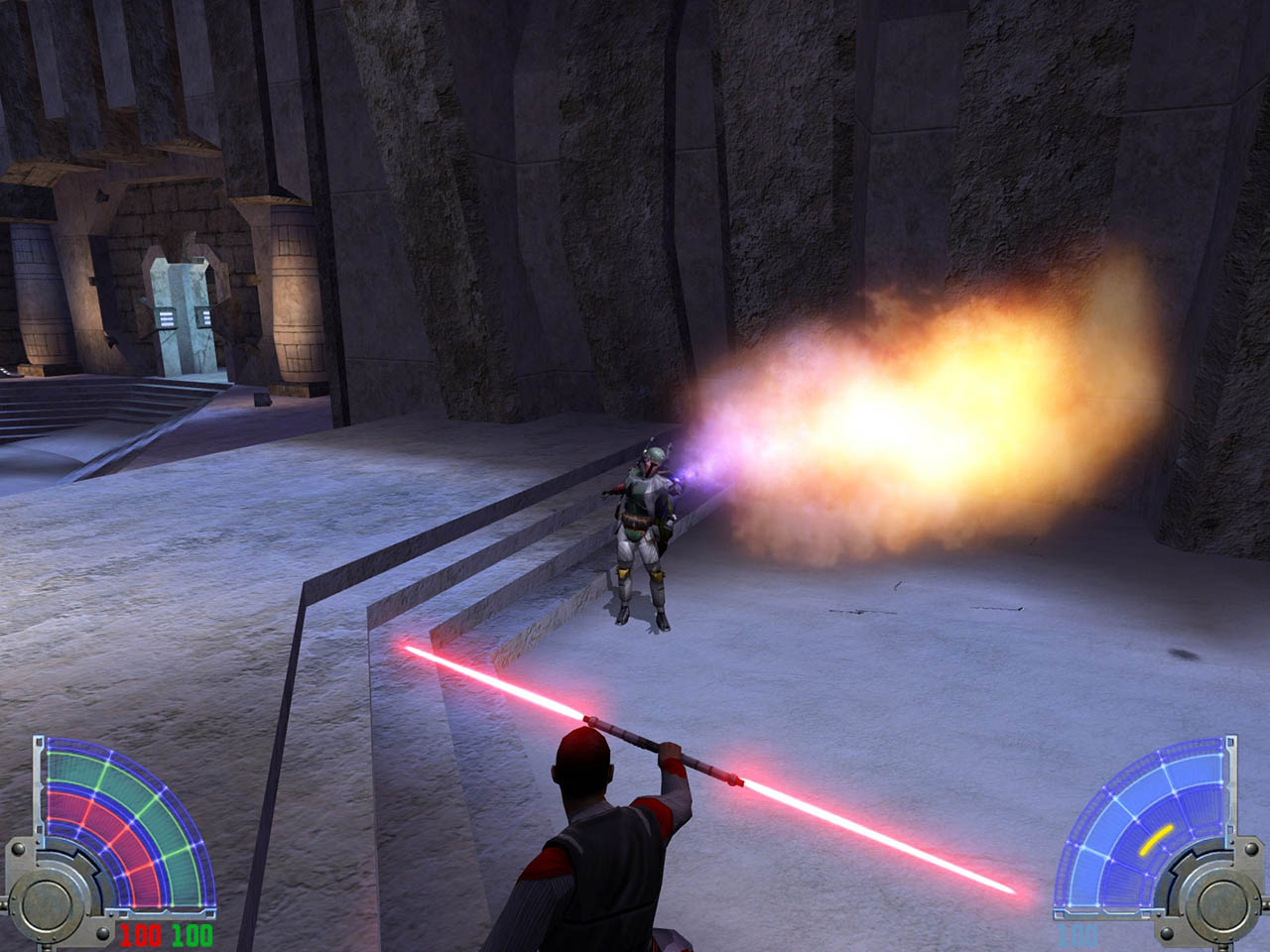 A screenshot from Star Wars Jedi Knight: Jedi Academy.