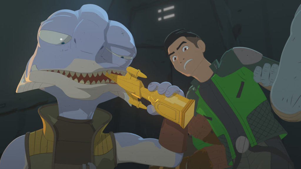 Grevel bites down on Kaz's trophy in Star Wars Resistance.