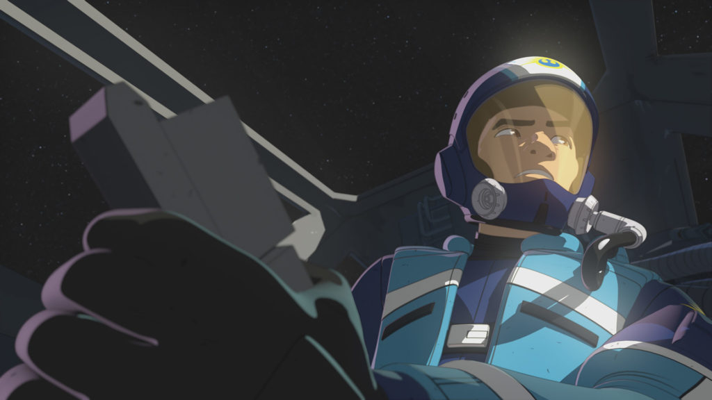 Kaz in his X-wing cockpit in Star Wars Resistance.