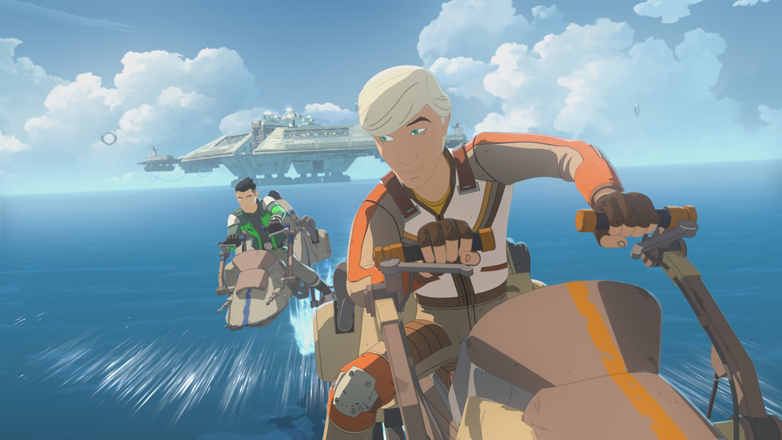 Kaz and Jace race in Star Wars Resistance.