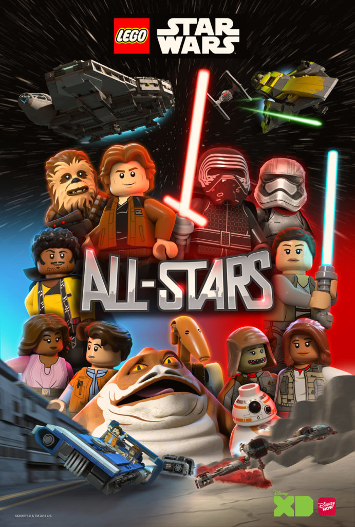 LEGO Star Wars: All-Stars official key art featuring Han Solo, Kylo Ren, and more.