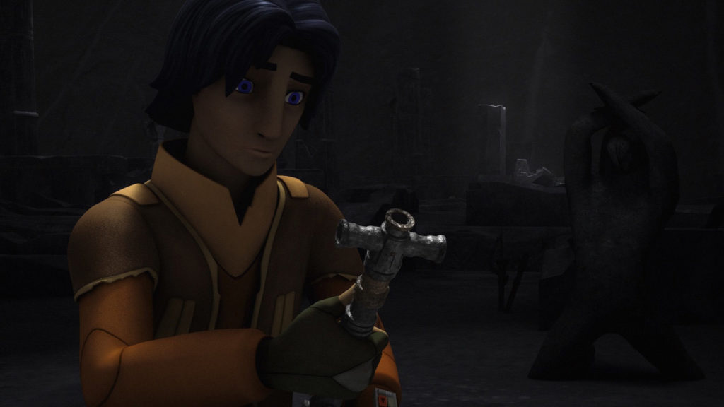 Ezra Bridger finds an ancient lightsaber on Malachor in Star Wars Rebels.