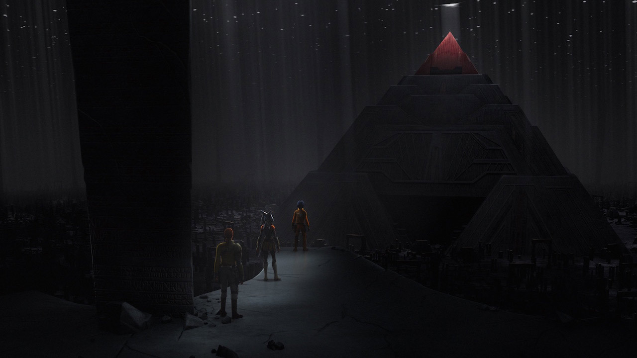 The Sith world of Malachor, with a towering Sith Temple, in Star Wars Rebels.