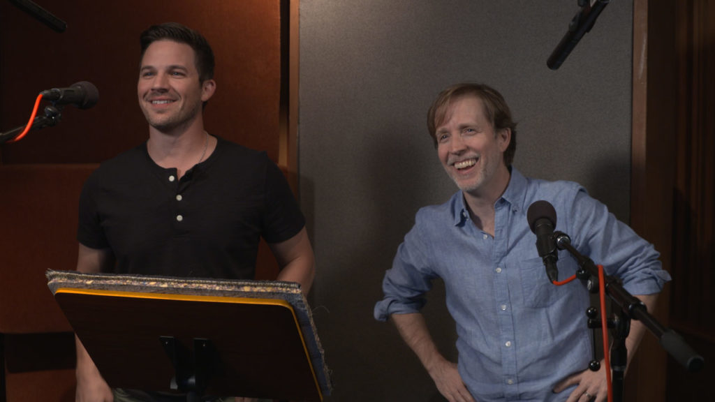 Matt Lanter and James Arnold Taylor recording for Star Wars Battlefront II.