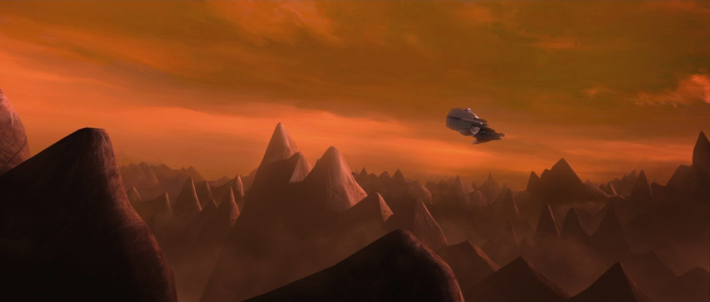 A panorama of the Sith wasteland, Moraband, in Star Wars: The Clone Wars.