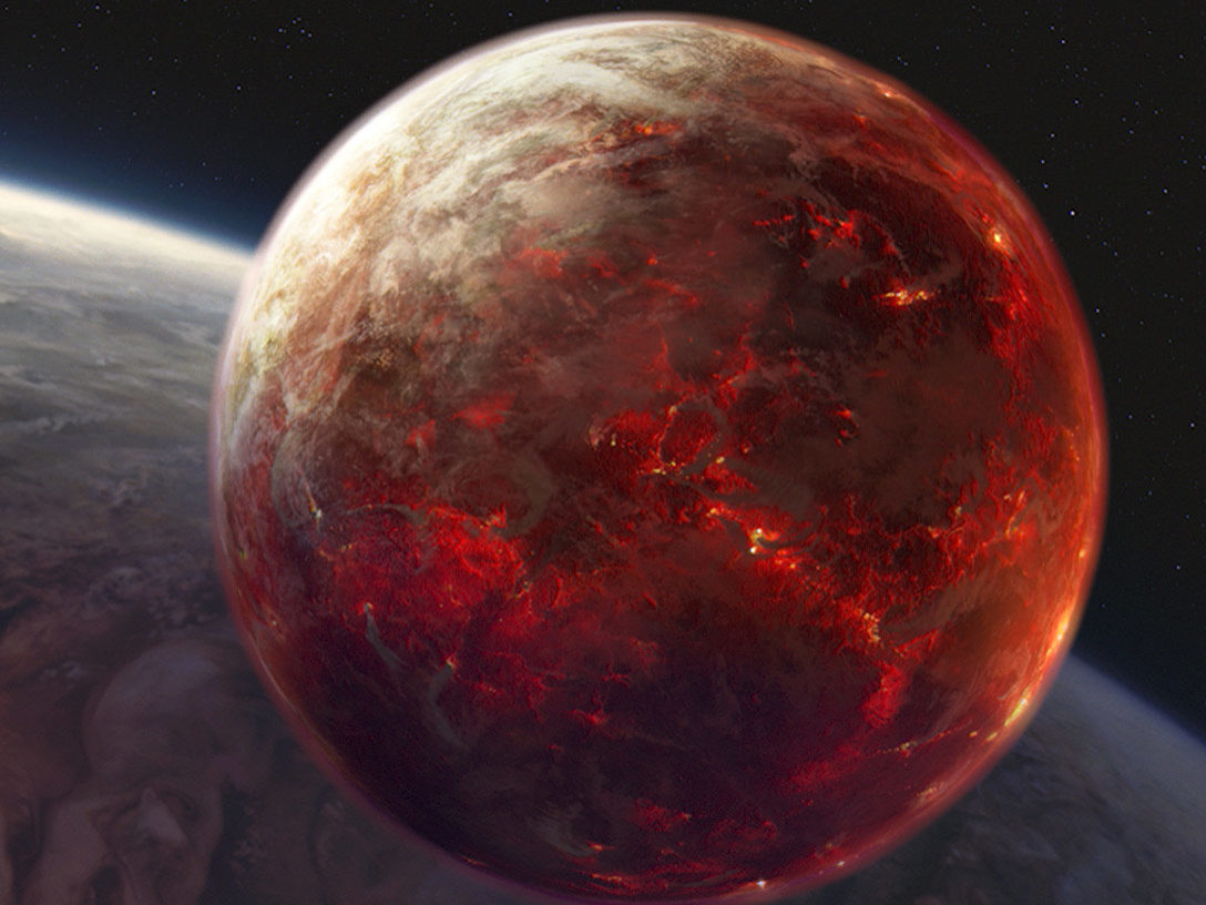 The lava planet Mustafar in Star Wars: Revenge of the Sith.