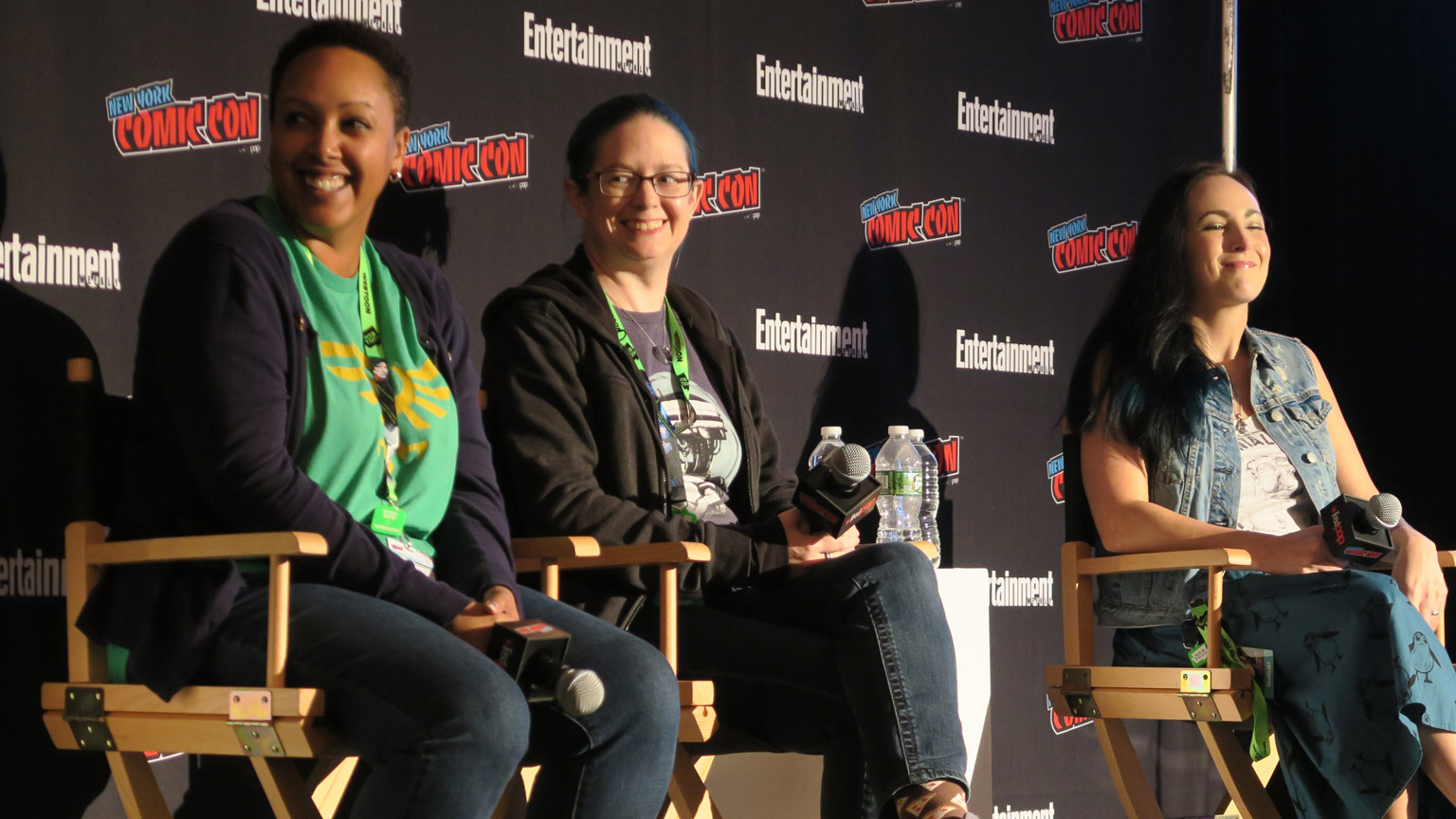Authors are shown on a panel at NYCC 2018.