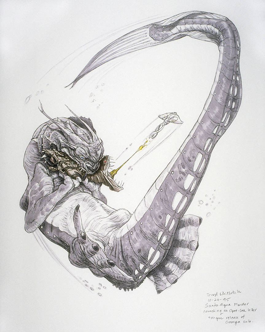 Concept art of the opee sea killer and other creatures.