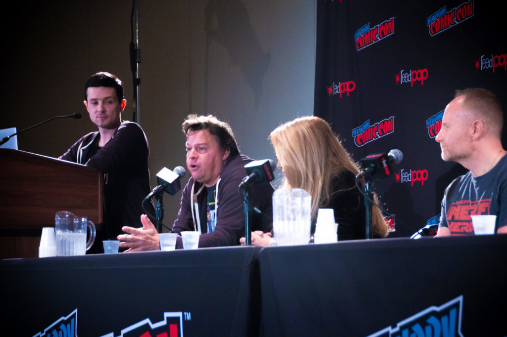 Jordan Hembrough speaks at the Our Star Wars Stories panel at NYCC 2018.