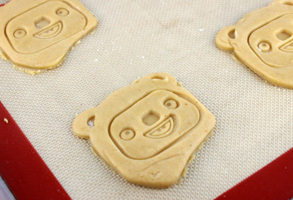 Using the cookie cutter for Pumpkin Spice Ewok Cookies.