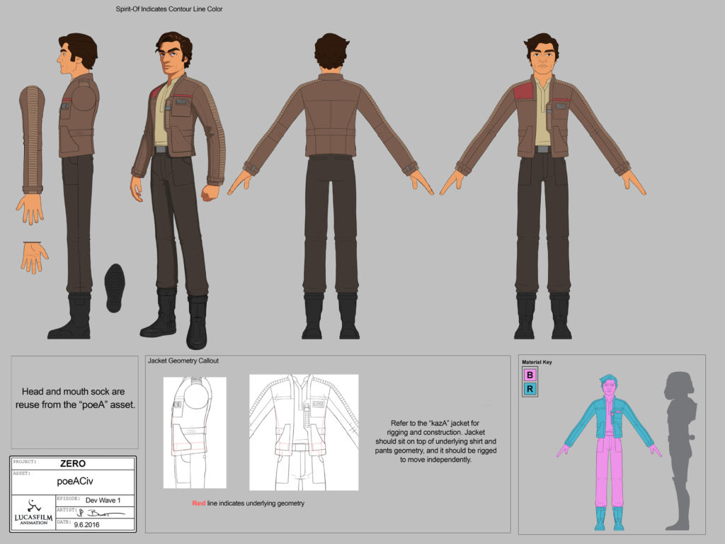 Poe Dameron turnarounds from Star Wars Resistance.