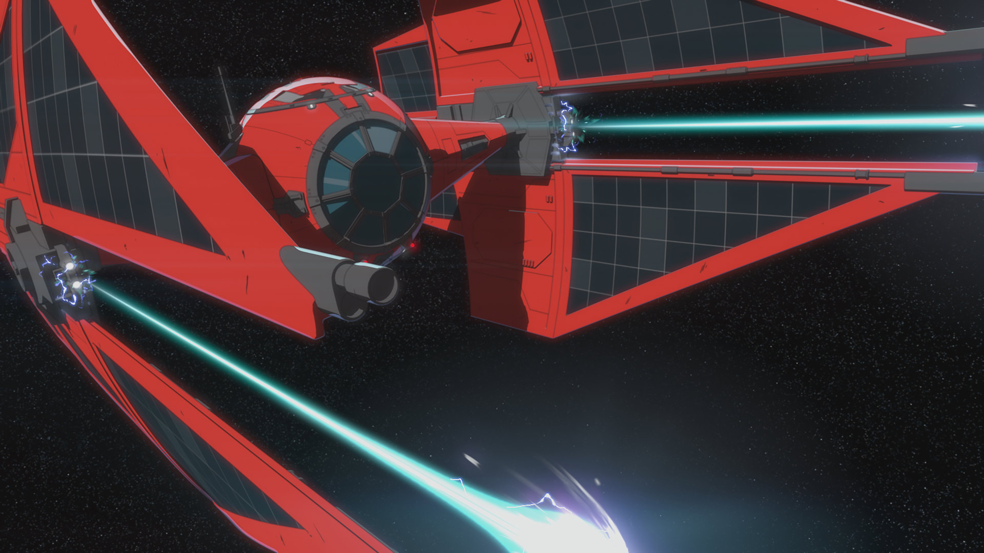 A TIE fighter in Star Wars Resistance.