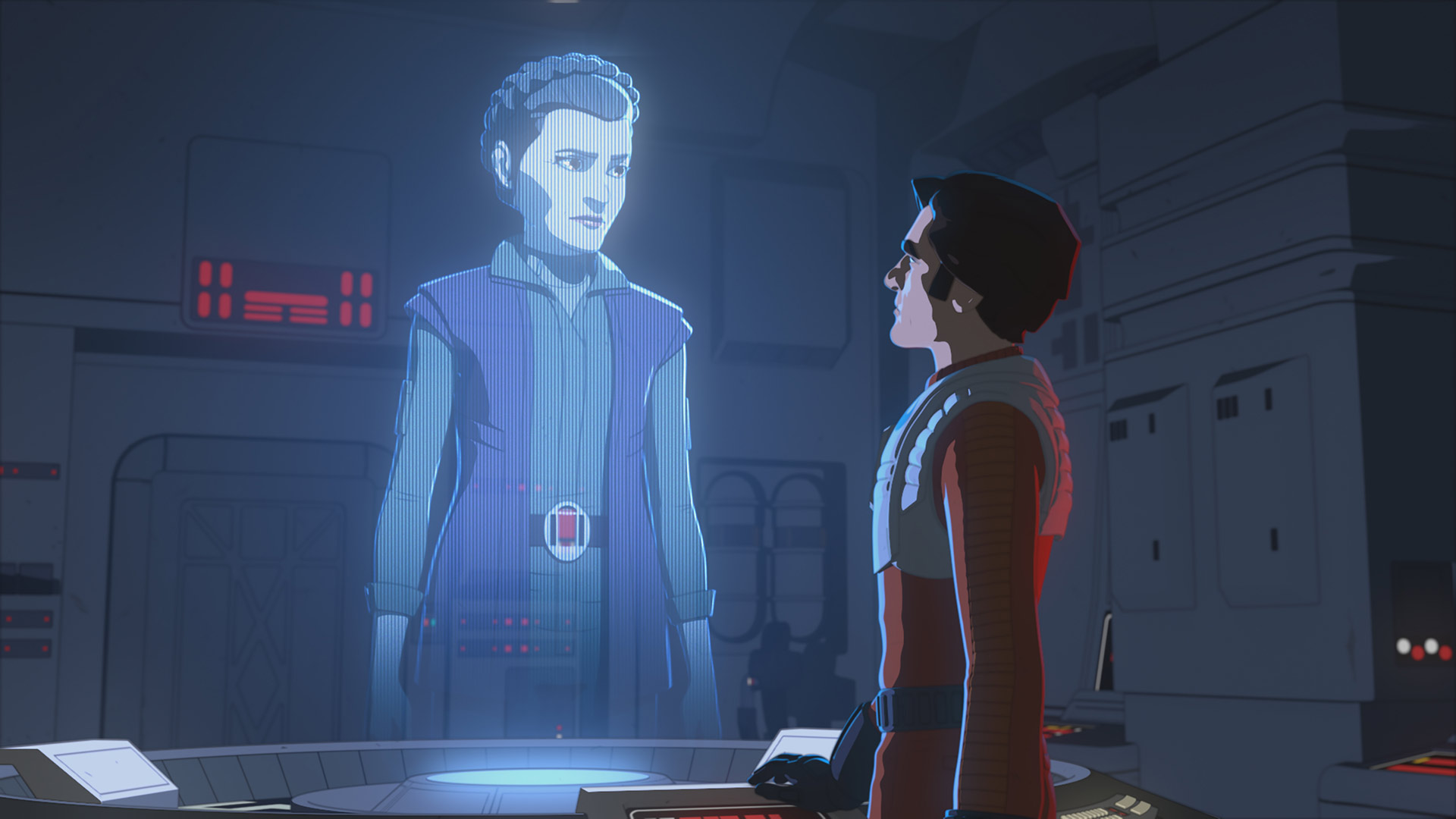 General Leia Organa and Poe Dameron in Star Wars Resistance.