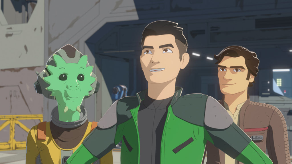 Neeku, Kaz, and Poe Dameron in Star Wars Resistance.