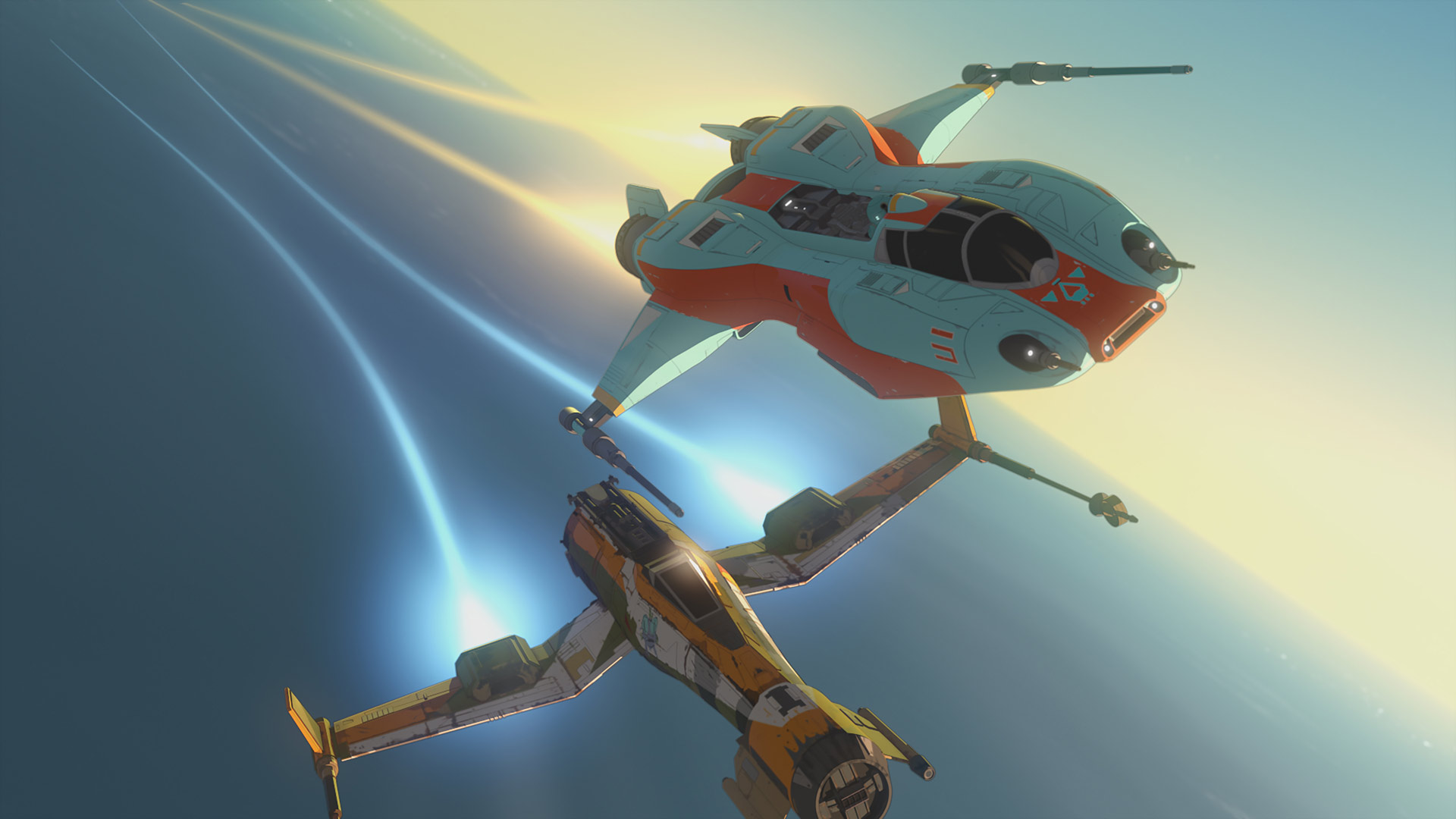 Ships racing in Star Wars Resistance.