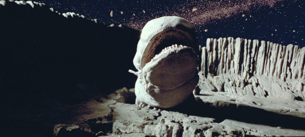 A space slug tries to gobble the Millennium Falcon in The Empire Strikes Back.
