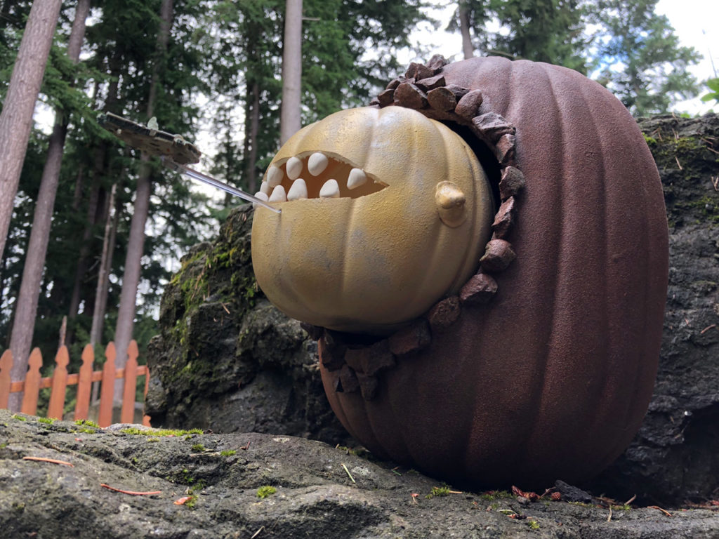 The Space Slug pumpkin tries to gobble the Millennium Falcon.