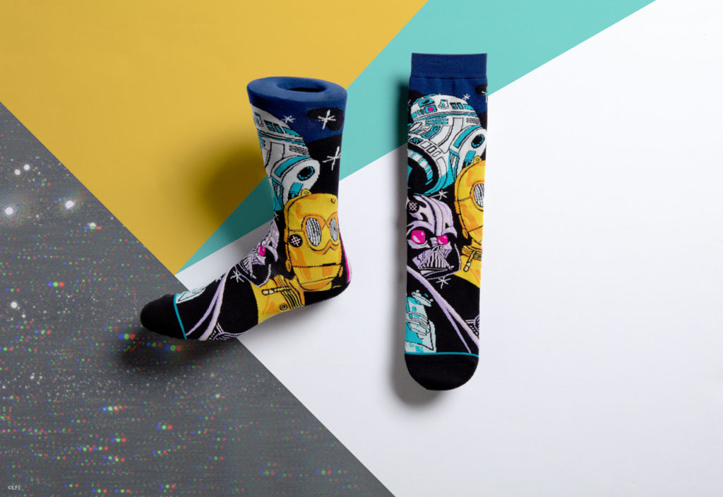 Stance's Star Wars socks: Darth Vader, R2-D2, and C-3PO.