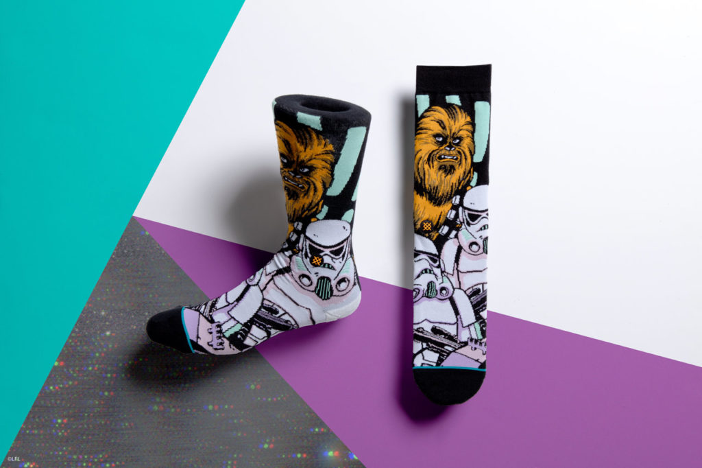 Stance's Star Wars socks: Chewbacca and stormtroopers.