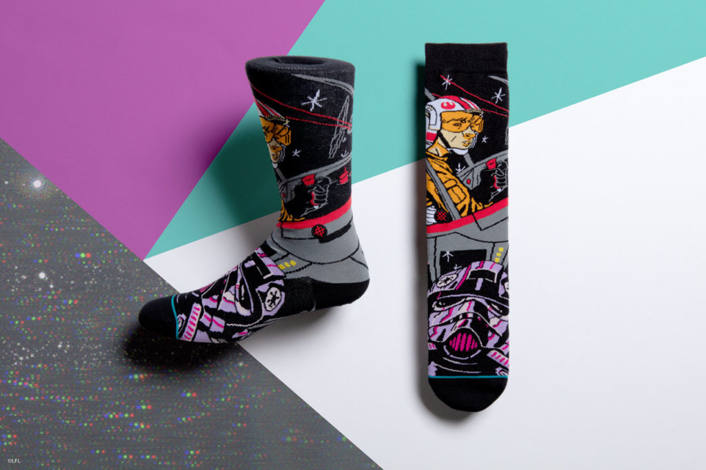 Stance's Star Wars socks: Luke Skywalker and TIE fighter pilot.