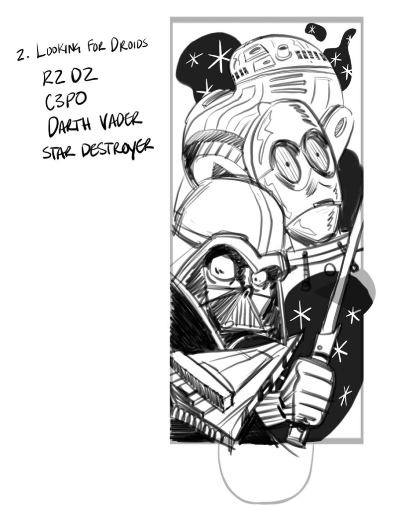 Concept design sketches for Stance's 2018 Star Wars socks: Darth Vader and droids.