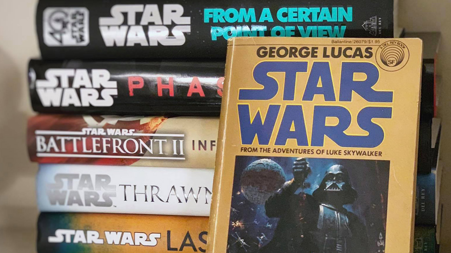 A pile of assorted Star Wars books