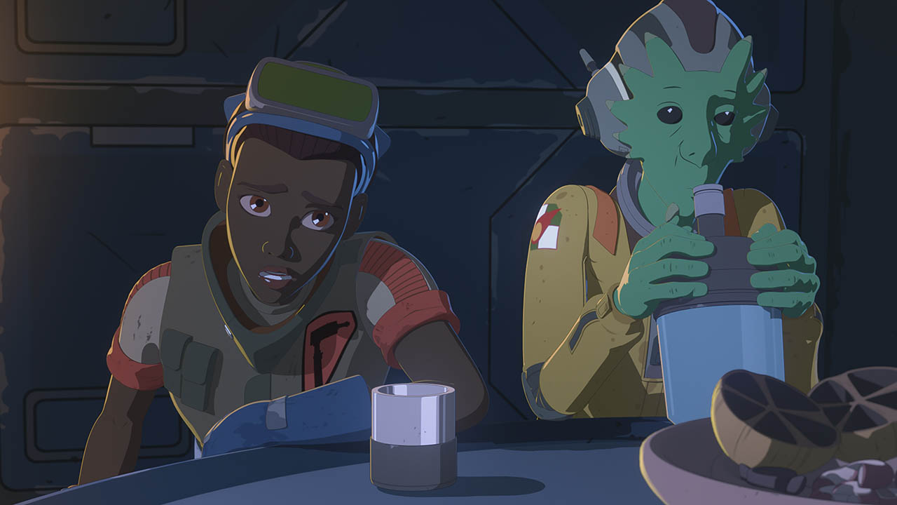 Tam and Neeku are seen in a scene from Star Wars Resistance.